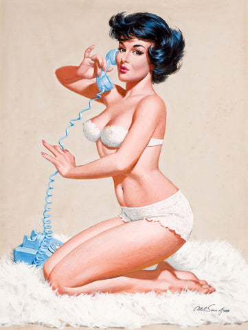 Pin-Up Girl Wall Decal Poster Sticker - Pin-Up on the Phone - Brunette Black Dark Raven Hair Pinup Pin Up