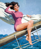 Pin-Up Girl Wall Decal Poster Sticker - Pin-Up Sailing - Brunette Pinup Pin Up