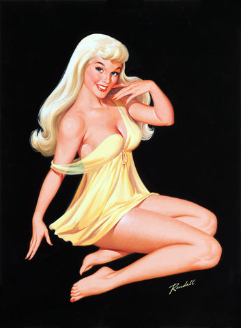 Pin-Up Girl Wall Decal Poster Sticker - Seated Blonde Pin-Up - Pinup Pin Up