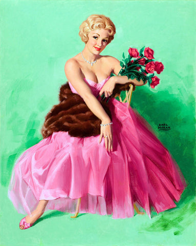 Pin-Up Girl Wall Decal Poster Sticker - Lady in Pink - Blonde Pinup Pin Up