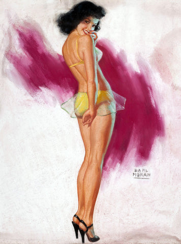 Pin-Up Girl Wall Decal Poster Sticker - Pin-Up in Yellow Bikini - Black Hair Dark Raven Pinup Pin Up