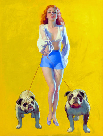 Pin-Up Girl Wall Decal Poster Sticker - Pin-Up with Bulldogs, 1937 - Red Hair Redhead Pinup Pin Up