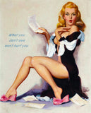 Pin-Up Girl Wall Decal Poster Sticker - What You Don't Owe Won't Hurt You, c. 1950 - Blonde Pinup Pin Up