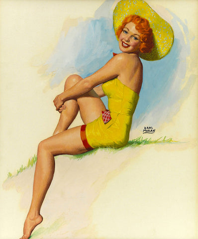 Pin-Up Girl Wall Decal Poster Sticker - Yellow Hat Pinup Illustration - Red Hair Redhead Pinup Pin Up