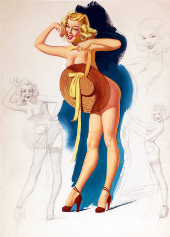 Pin-Up Girl Wall Decal Poster Sticker - Pin-Up with Sun Hat - Blonde Pinup Pin Up