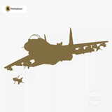 Airplane Jet Figther War Plane Wall Decal #00001 - Metallic Gold