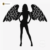 Sexy Angel Pin-Up Girl Wall Decal #00002 - Black