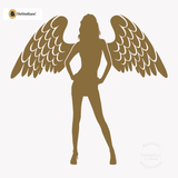 Sexy Angel Pin-Up Girl Wall Decal #00002 - Metallic Gold