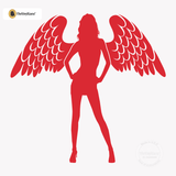 Sexy Angel Pin-Up Girl Wall Decal #00002 - Red