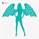 Sexy Angel Pin-Up Girl Wall Decal #00002 - Turquoise