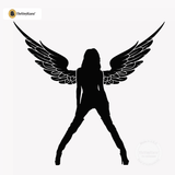 Sexy Angel Pin-Up Girl Wall Decal #00004 - Black