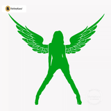Sexy Angel Pin-Up Girl Wall Decal #00004 - Kelley Green
