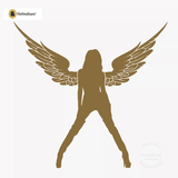 Sexy Angel Pin-Up Girl Wall Decal #00004 - Metallic Gold
