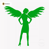 Sexy Angel Pin-Up Girl Wall Decal #00007 - Kelley Green
