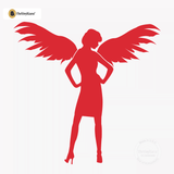 Sexy Angel Pin-Up Girl Wall Decal #00007 - Red
