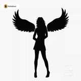 Sexy Angel Pin-Up Girl Wall Decal #00012 - Black