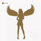 Sexy Angel Pin-Up Girl Wall Decal #00012 - Metallic Gold