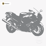 Motorcycle Wall Decal - Sport Bike Sticker #00004 - Metallic Silver