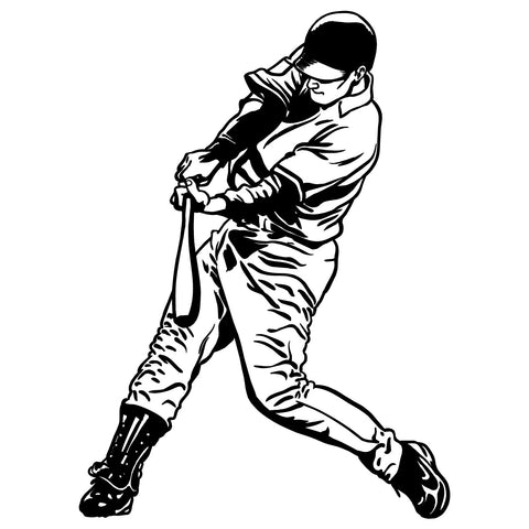 Baseball Left-Handed Batter Swinging Bat Wall Sticker - Black Vinyl