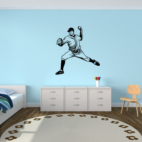 Baseball Pitcher Wall Decal on kid room wall