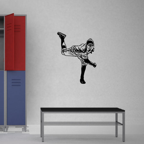 Baseball Pitcher Wall Decal on gym room wall