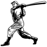 Baseball Right-Handed Batter Grand Slam Wall Sticker - Black Vinyl