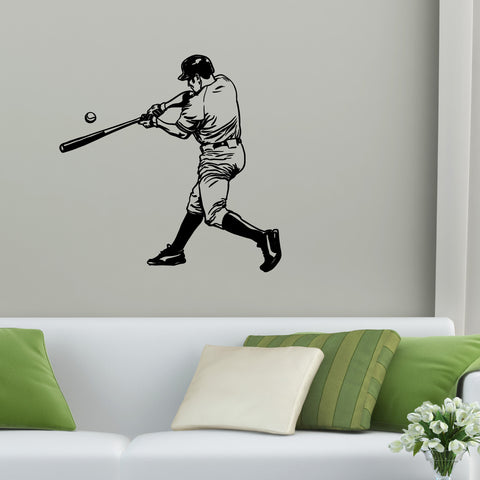 Baseball Batter Wall Decal Sticker On Living Room