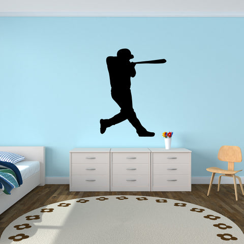 Baseball Batter Wall Decal Sticker on kid's room wall