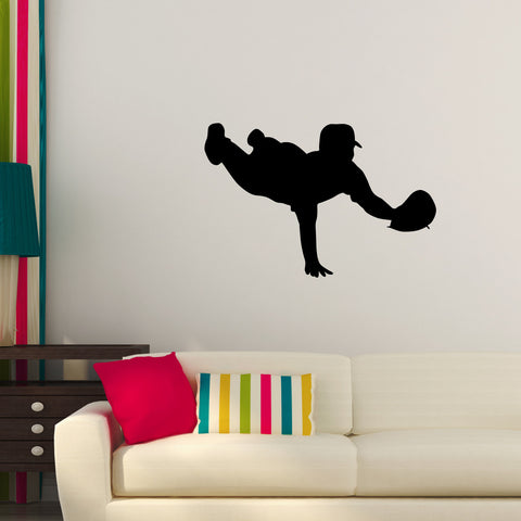Baseball Fielder Wall Decal Sticker on living room wall