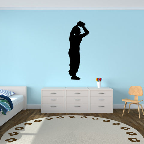 Baseball Pitcher Wall Decal Sticker on kid room wall