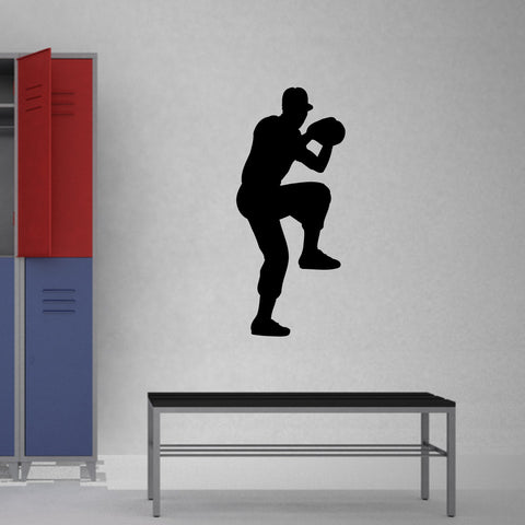 Baseball Pitcher Wall Decal Sticker on locker room wall