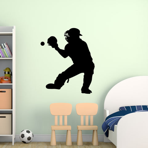 Baseball Catcher Wall Decal Sticker on gym room wall