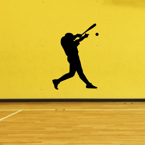 Baseball Batter Wall Decal Sticker on a gym room wall
