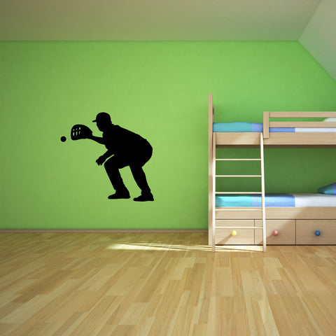Baseball Fielder Wall Decal Sticker On Teen Room