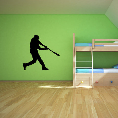 Baseball Batter Wall Decal Sticker on teen room wall