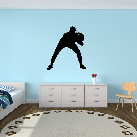 Baseball Fielder Wall Decal Sticker on kid room wall