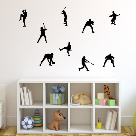 Baseball Wall Decal Sticker Set of 9 (Nine) on kid room wall