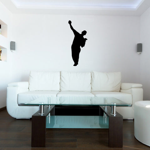 Baseball Pitcher Wall Decal Sticker on living room wall