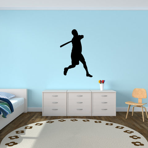 Baseball Batter Wall Decal Sticker on kid room wall