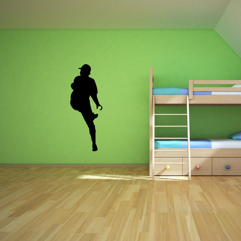 Baseball Pitcher Wall Decal Sticker on teen room wall