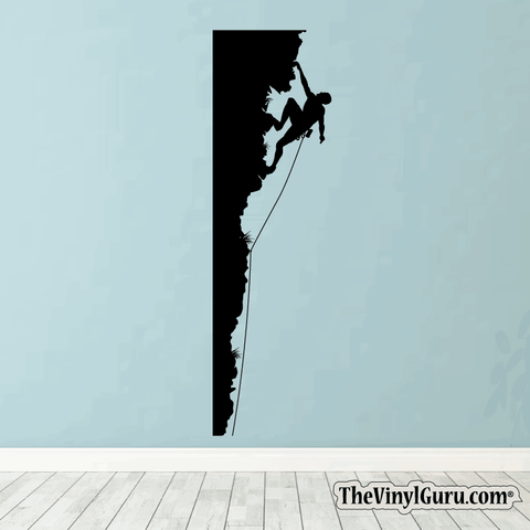 Rock Climbing Wall Decal - Man Mountain Climber Sticker #00001