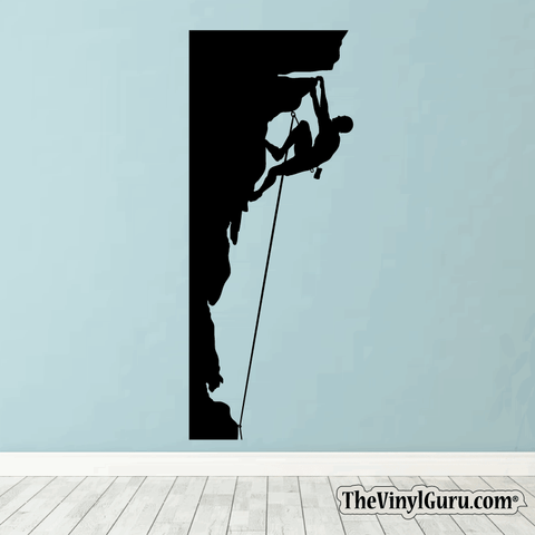 Rock Climbing Wall Decal - Man Mountain Climber Sticker #00002