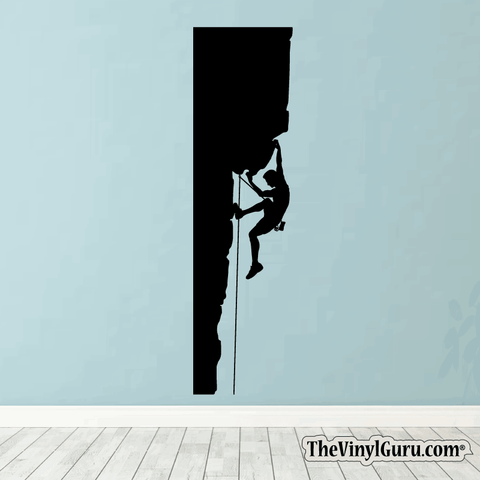 Rock Climbing Wall Decal - Man Mountain Climber Sticker #00003