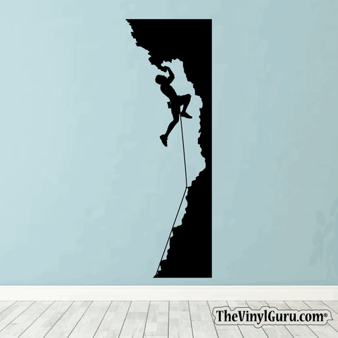 Rock Climbing Wall Decal - Man Mountain Climber Sticker #00004