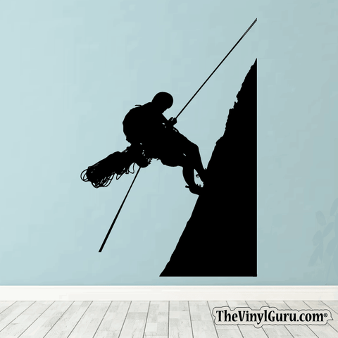 Rock Climbing Wall Decal - Man Mountain Climber Sticker #00005