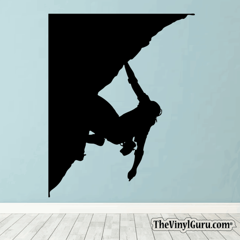 Rock Climbing Wall Decal - Man Mountain Climber Sticker #00006