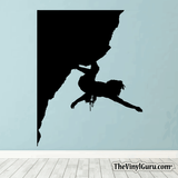 Rock Climbing Wall Decal - Man Mountain Climber Sticker #00007