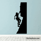 Rock Climbing Wall Decal - Man Mountain Climber Sticker #00015
