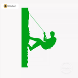 Rock Climbing Wall Decal - Man Mountain Climber Sticker #00018 - Kelley Green