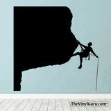 Rock Climbing Wall Decal - Man Mountain Climber Sticker #00021